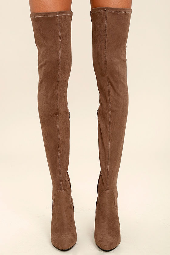 1a370b0a10508 Mia Emelia Mocha Boots - Suede OTK Boots - Thigh High Boots -  99.00