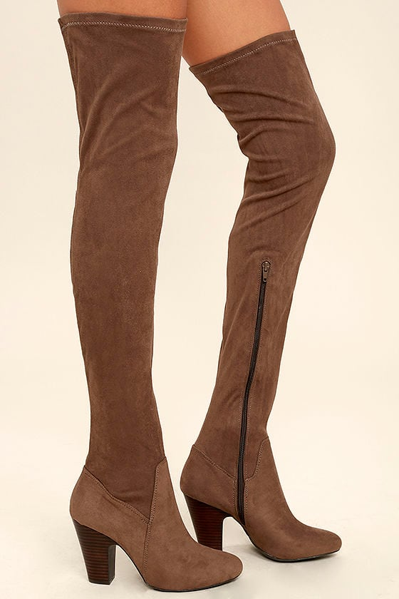 Mia Emelia Mocha Boots - Suede OTK Boots - Thigh High Boots - $99.00