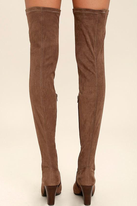 Mia Emelia Mocha Boots - Suede OTK Boots - Thigh High Boots - $99.00