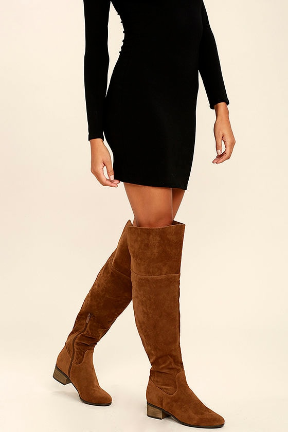 Dolly Tan Suede Over the Knee Boots 4
