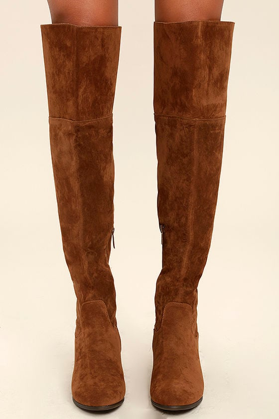 6a4bbd4fc2b8 Cute Tan Boots - Vegan Suede Boots - Over the Knee Boots -  43.00