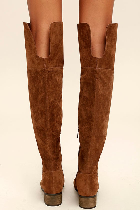 Cute Tan Boots - Vegan Suede Boots - Over the Knee Boots - $43.00