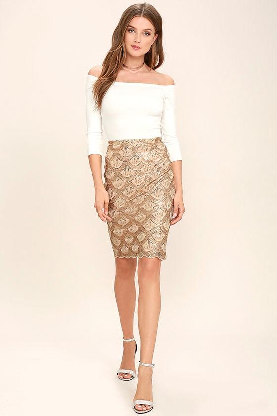 Stunning Gold Skirt - Sequin Skirt - Midi Skirt - Bodycon Skirt ...