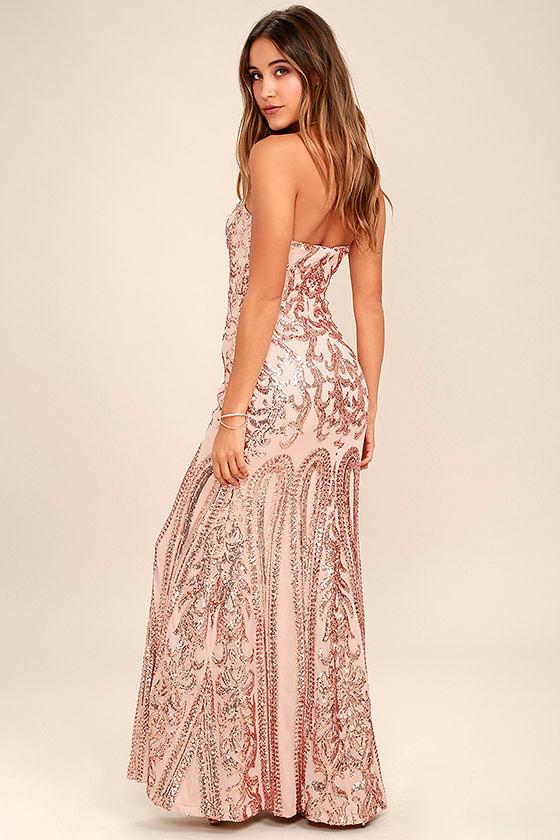 Bariano Rebecca Dress - Rose Gold Dress - Sequin Dress - Maxi ...