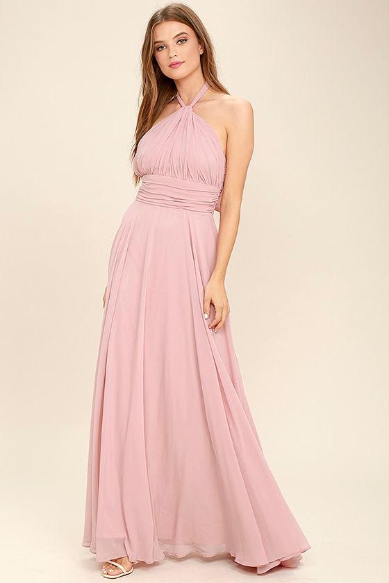 Elegant Mauve Pink Dress - Maxi Dress - Halter Dress - Halter Maxi ...