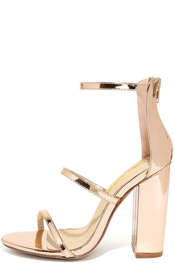 Lovely Rose Gold Heels - Ankle Strap Heels - Block Heels - $31.00