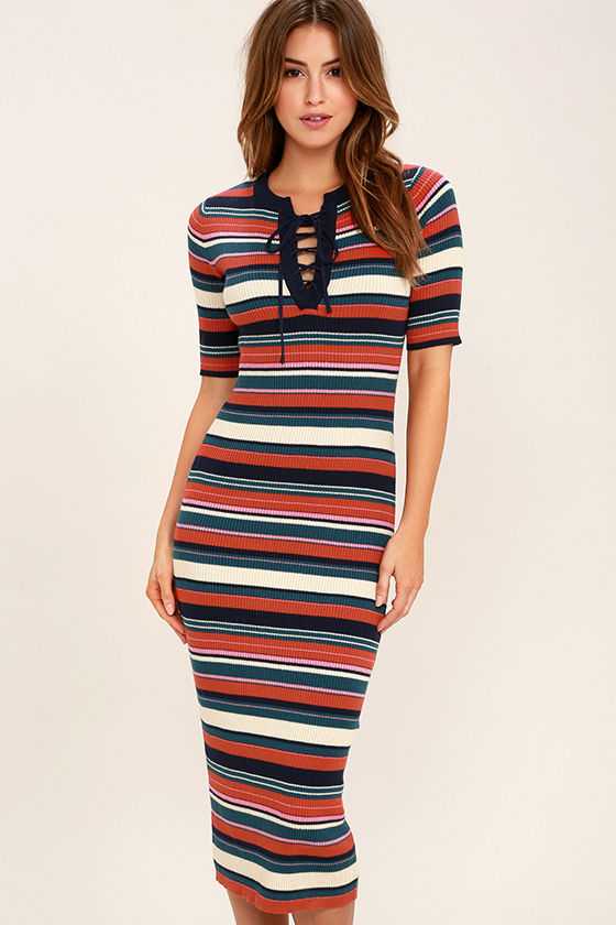 d48401e48a3 Retro Striped Dress - Bodycon Dress - Midi Dress - Sweater Dress -  56.00