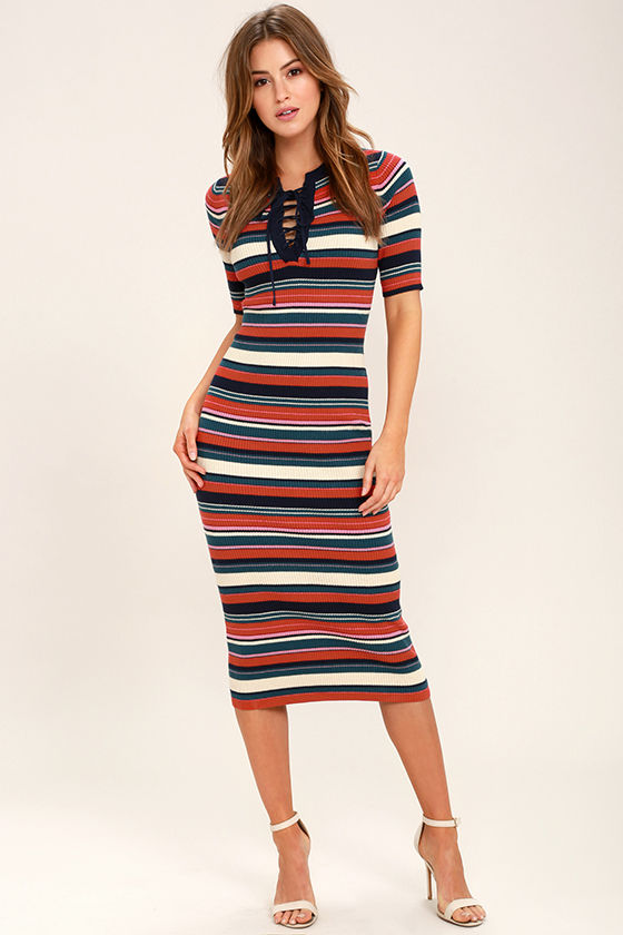 New Womens Stripped Midi Fitted Dress Medium Size Small Large FAST P/&P