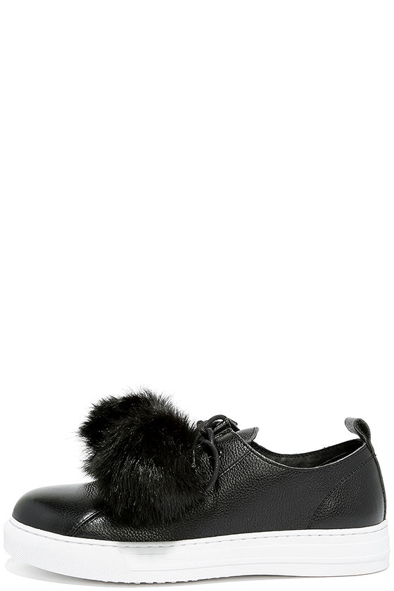 Dirty Laundry   Fluffed Up Black Leather Pompom Sneakers   Size 7.5   Lulus