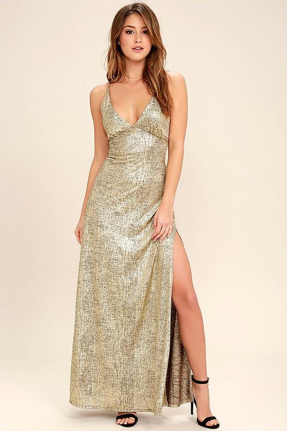 6666b8869e Sexy Gold Dress - Maxi Dress - Bodycon Maxi - Metallic Dress -  62.00