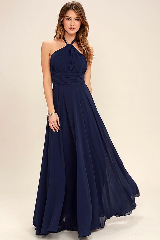cfc2a38544 Elegant Navy Blue Dress - Maxi Dress - Halter Dress - Halter Maxi ...