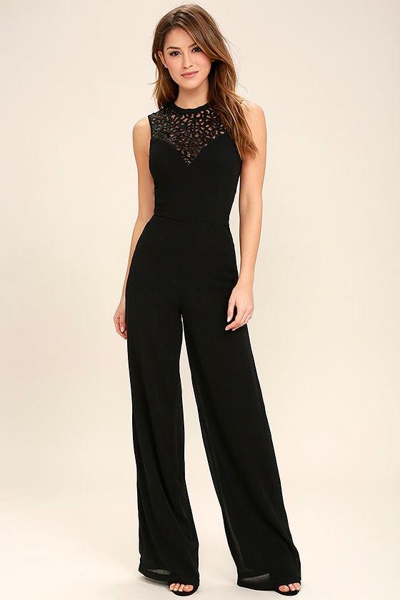 ebcf808296a Lovely Black Jumpsuit - Sequin Jumpsuit - Wide-Leg Jumpsuit -  74.00