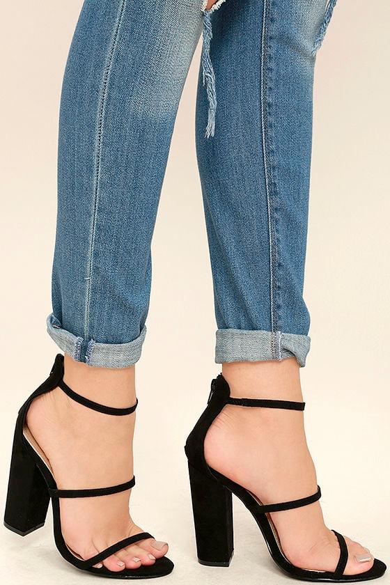 0a261557cd Lovely Black Suede Heels - Ankle Strap Heels - Block Heels - $31.00