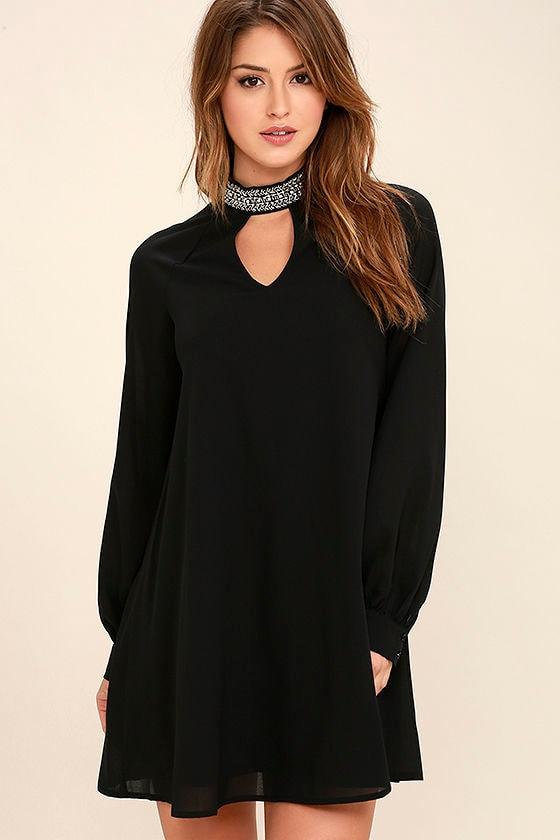 8f900b7a9ac Chic Black Dress - Beaded Dress - Shift Dress -  59.00