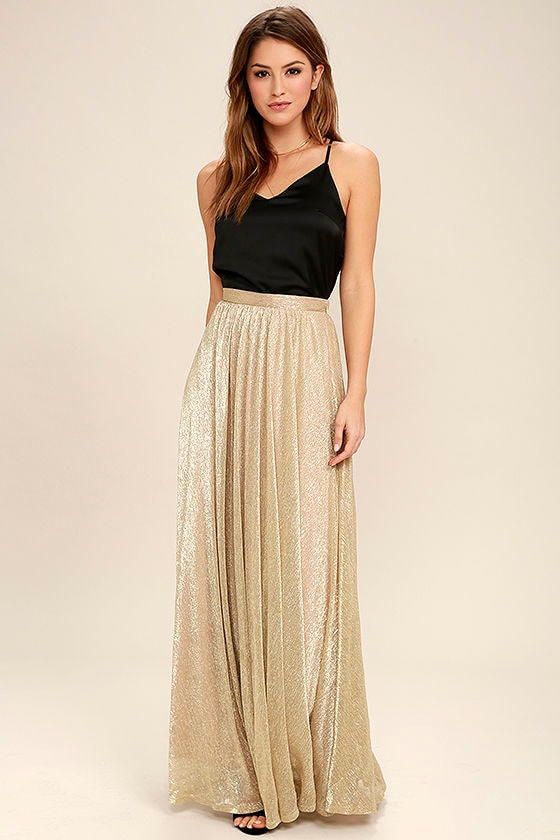 Chic Gold Skirt - Maxi Skirt - Metallic Skirt - Metallic Maxi ...
