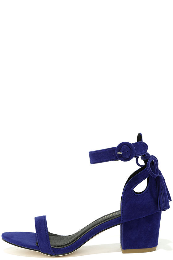 Cute Royal Blue Heels Vegan Suede Heels Ankle Strap