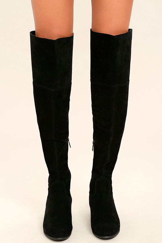 Dolly Black Suede Over the Knee Boots 2