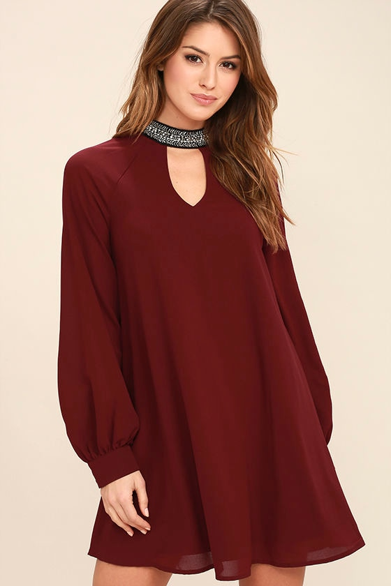 So Into You Wine Red Beaded Long Sleeve Shift Dress 1