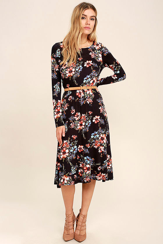b03080bde4fb8 Lovely Navy Blue Dress - Floral Print Dress - Long Sleeve Dress -  38.00