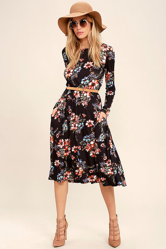 100d5305b5f Lovely Navy Blue Dress - Floral Print Dress - Long Sleeve Dress -  38.00