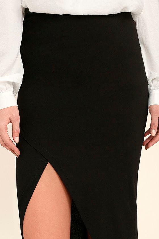 Sexy Black Skirt - Midi Skirt - Wrap Skirt - Midi Wrap Skirt - $37.00