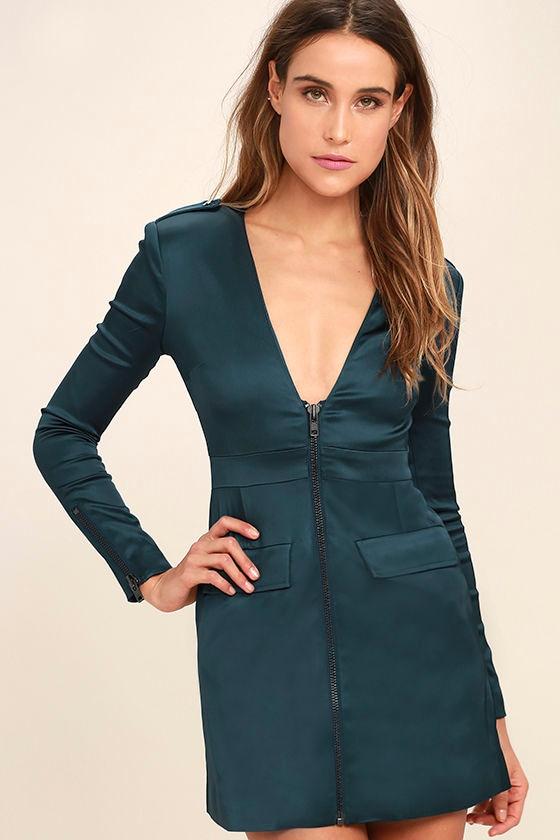 NBD Manuela Teal Blue Satin Long Sleeve Dress