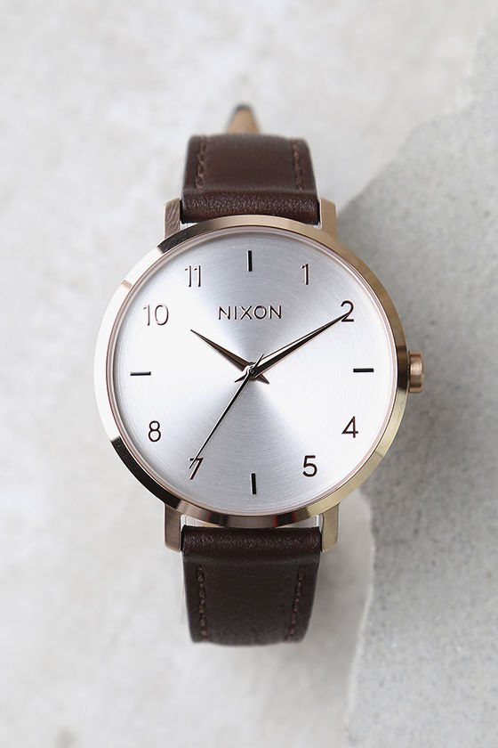 Nixon Arrow Rose Gold and Silver Leather Watch 2