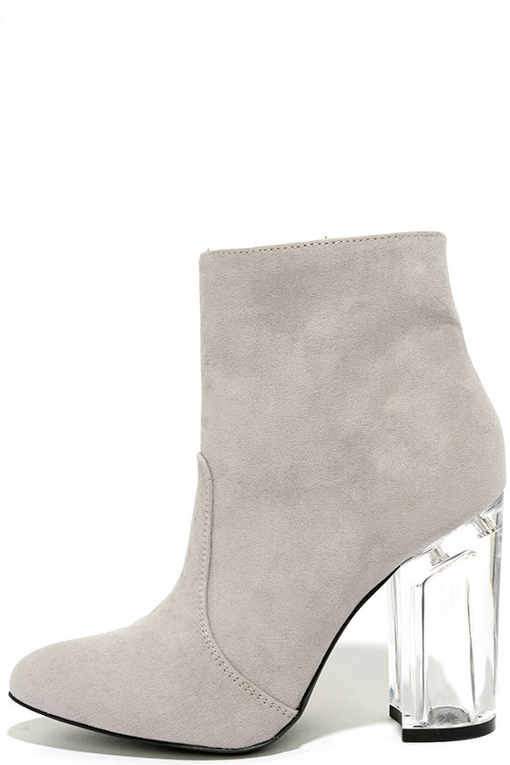Illuminate Light Grey Suede Lucite Ankle Booties 2