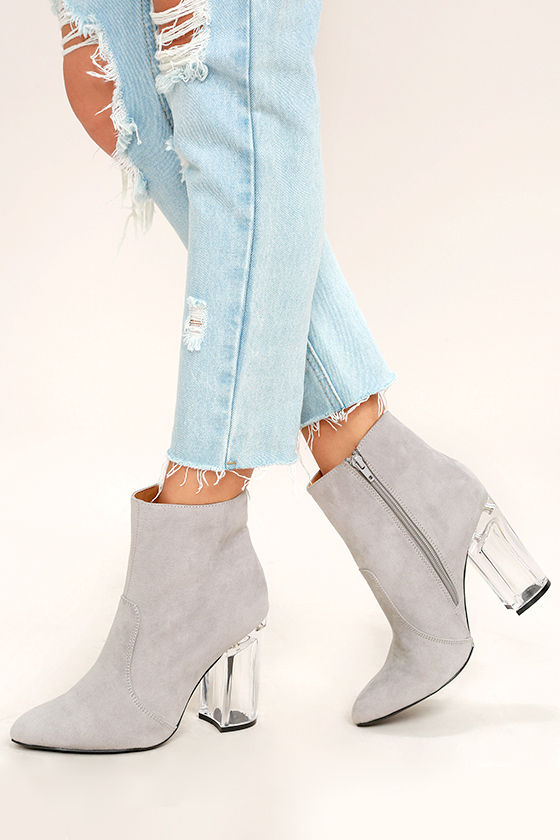 Illuminate Light Grey Suede Lucite Ankle Booties 1