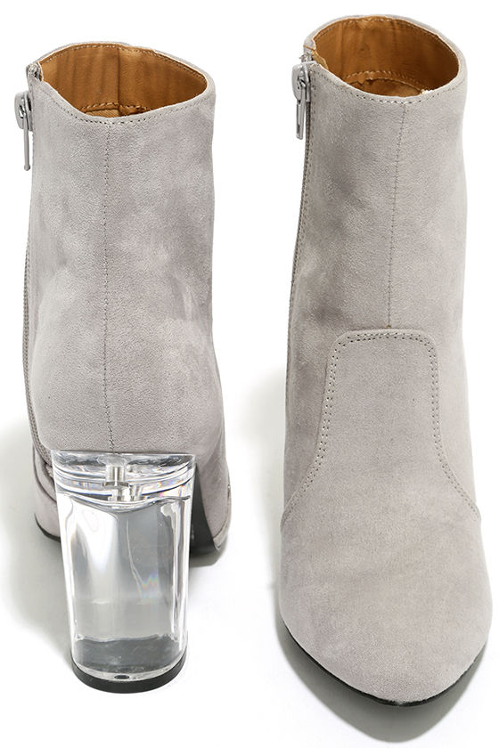 Illuminate Light Grey Suede Lucite Ankle Booties 3