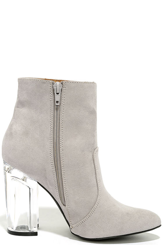 Illuminate Light Grey Suede Lucite Ankle Booties 4
