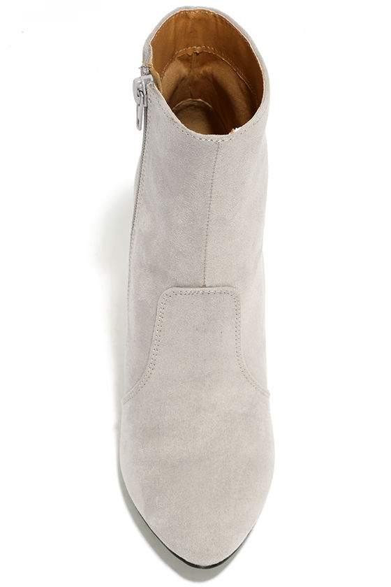 Illuminate Light Grey Suede Lucite Ankle Booties 5