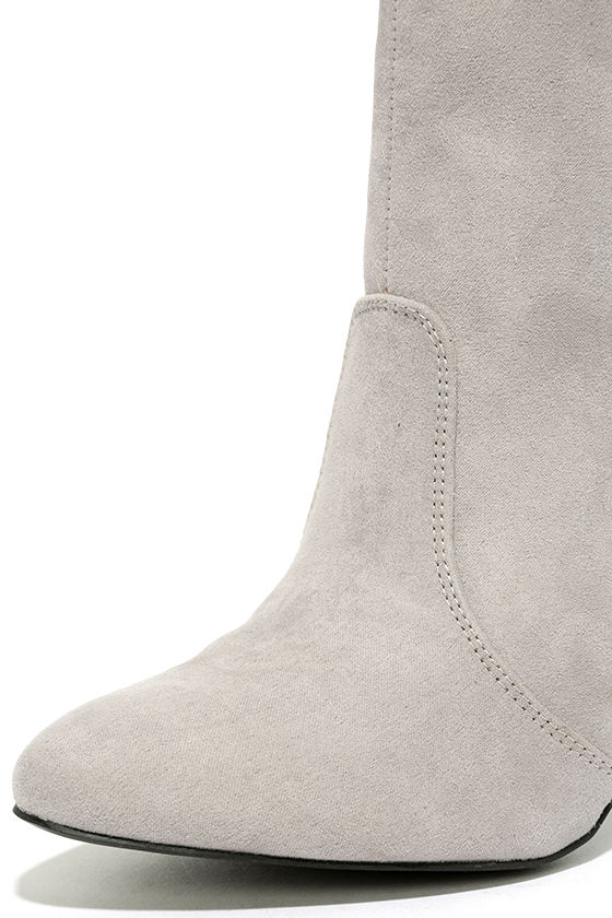Illuminate Light Grey Suede Lucite Ankle Booties 6