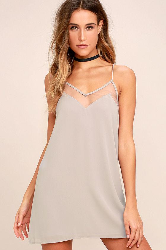 Go for Bold Light Grey Slip Dress 1