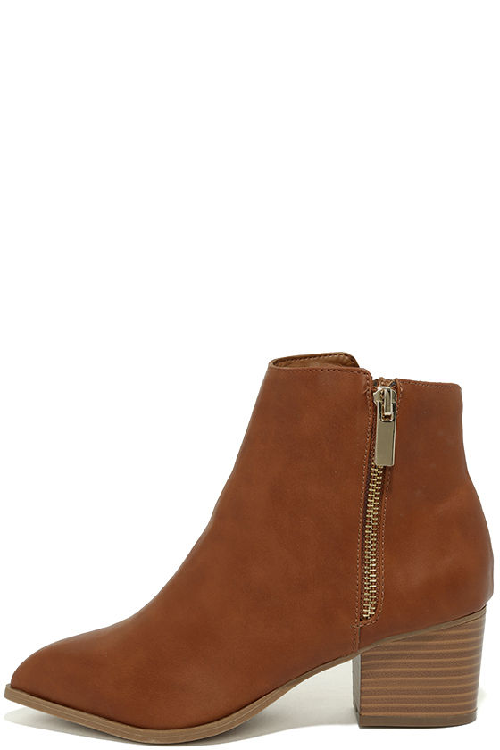 Illusion Tan Pointed Ankle Booties 2