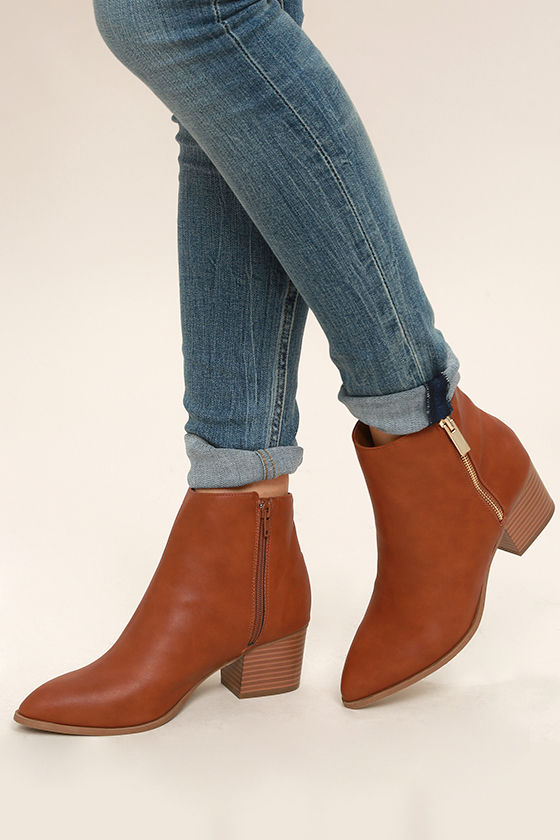 Illusion Tan Pointed Ankle Booties 1