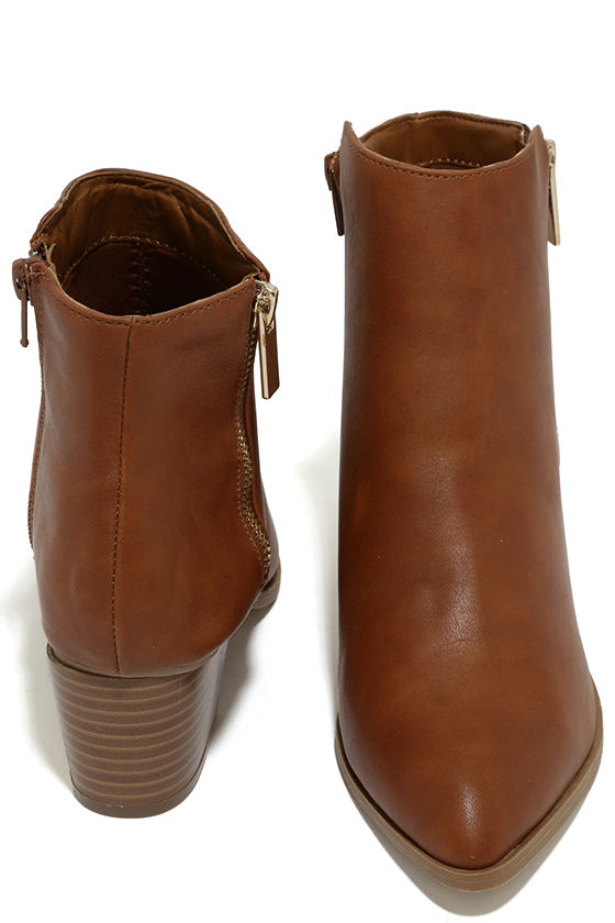 Illusion Tan Pointed Ankle Booties 3