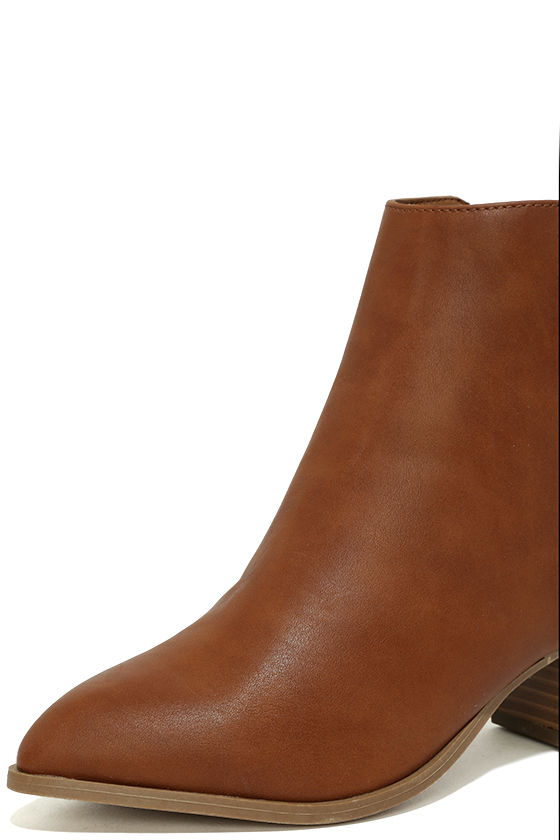 Illusion Tan Pointed Ankle Booties 6