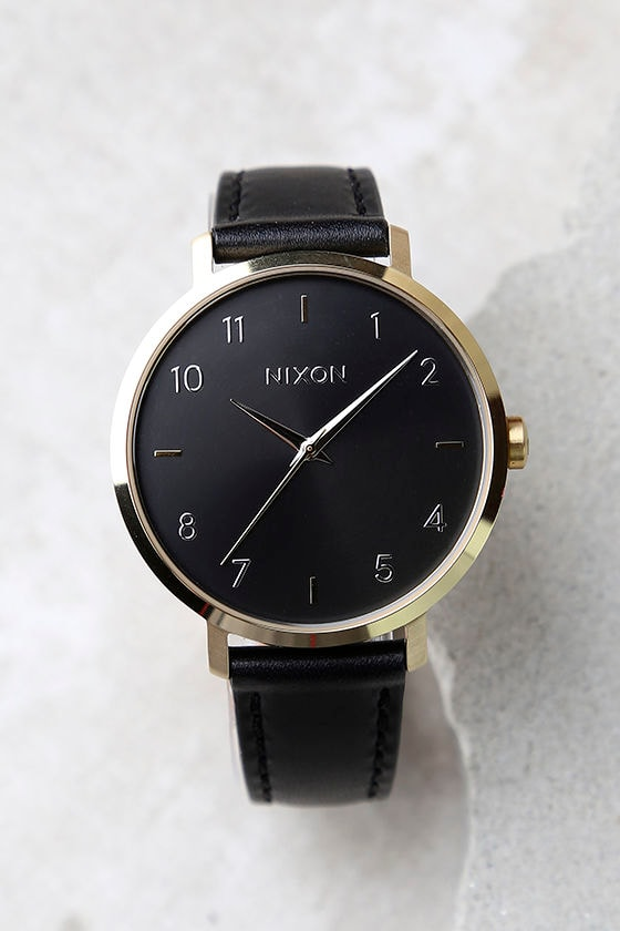 Nixon Arrow Gold and Black Leather Watch 1