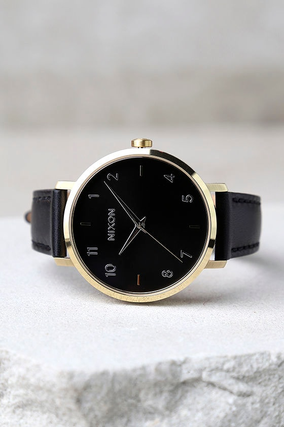 Nixon Arrow Gold and Black Leather Watch 2