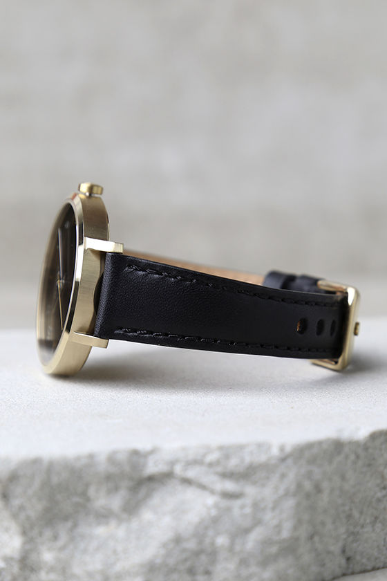 Nixon Arrow Gold and Black Leather Watch 3