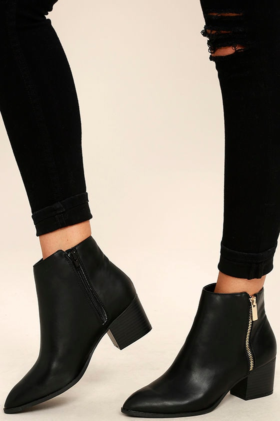 4c3ae5117877 Cute Black Booties - Ankle Booties - Pointed Toe Booties