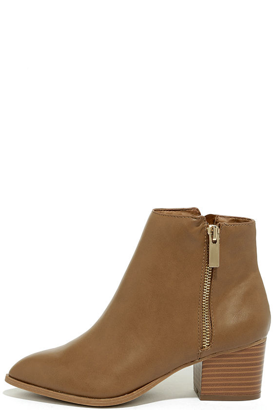 Illusion Taupe Pointed Ankle Booties 1