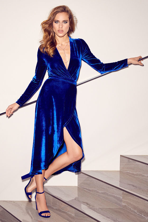 6bca03f29a15 Stunning Cobalt Blue Dress - Velvet Wrap Dress - Midi Dress