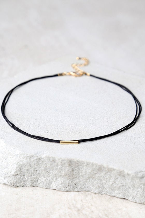 First Love Black and Gold Choker Necklace 1