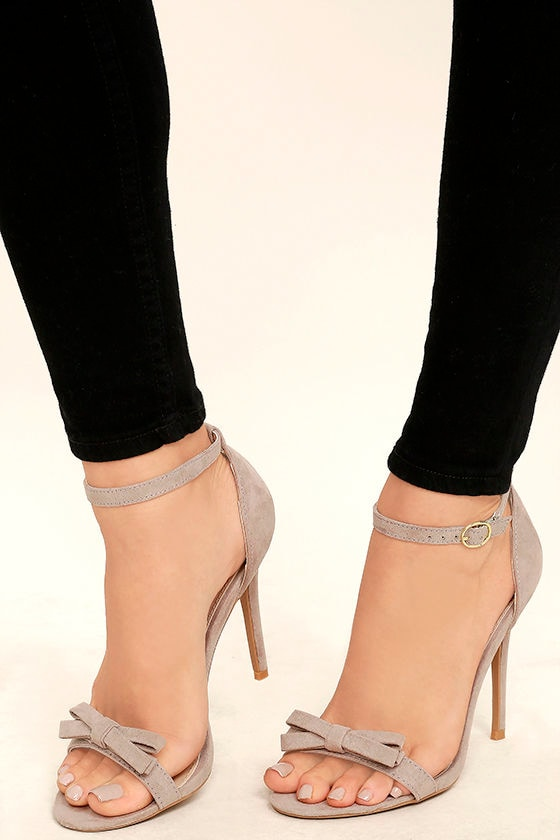 Cute Taupe Heels - Ankle Strap Heels - Vegan Suede Dress Sandals ...