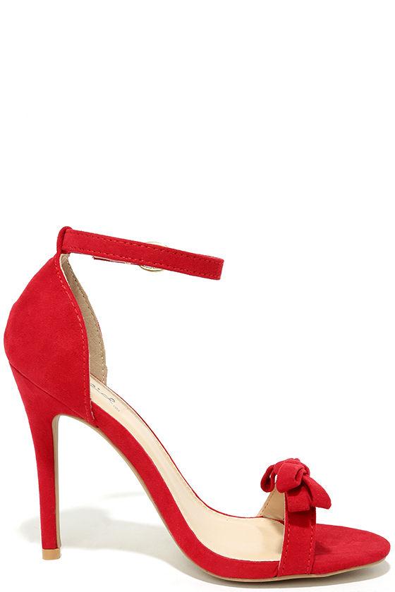 Cute Red Heels - Ankle Strap Heels - Vegan Suede Dress Sandals ...