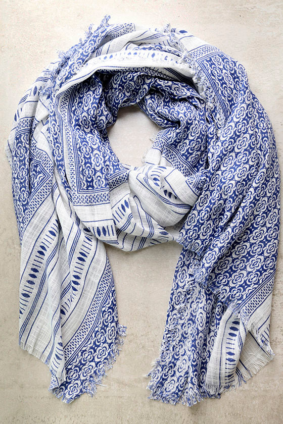 Postcard Collection Blue Print Scarf 1