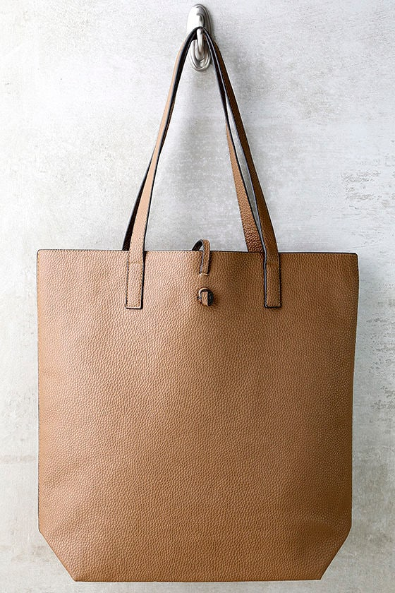 Living for the Weekend Beige and Brown Reversible Tote 2