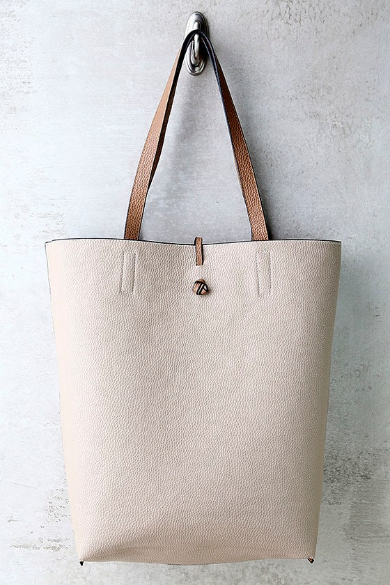 Living for the Weekend Beige and Brown Reversible Tote 3